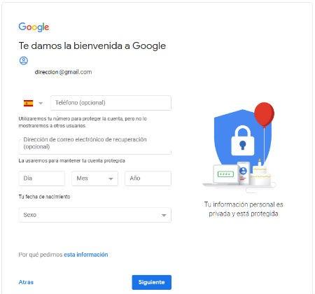 Fecha de nacimiento y sexo gmail
