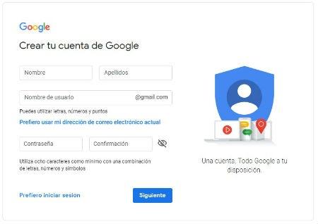 Rellenar datos cuenta gmail