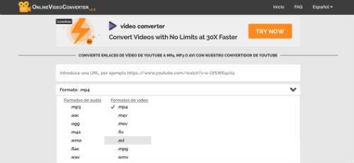 convertir videos con Online Video Converter